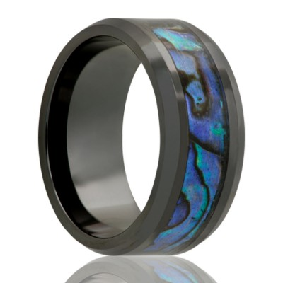 8Mm Black Ceramic W/ Abalone Inlay Size 10