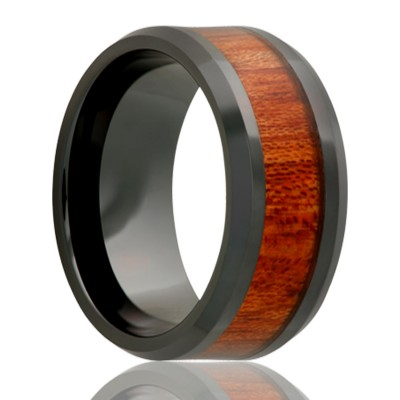 8Mm Black Ceramic W/ Blood Wood Inlay Size 10