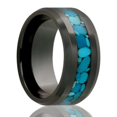 8mm Black Diamond Ceramic w/Blue Turquoise Size 10