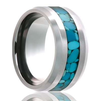 8Mm Cobalt Beveled W/ Turquoise Inlay Size 9.5