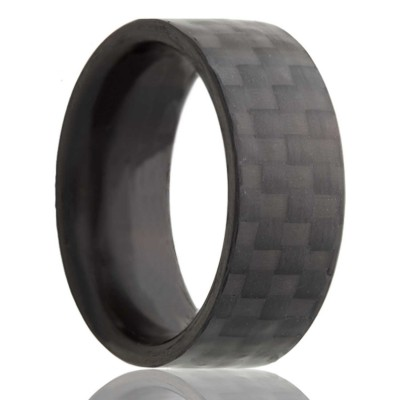 8mm Flat Solid Carbon Fiber Ring