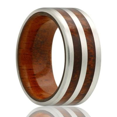 8mm Cobalt Band w/Koa Wood Inlay Size 9