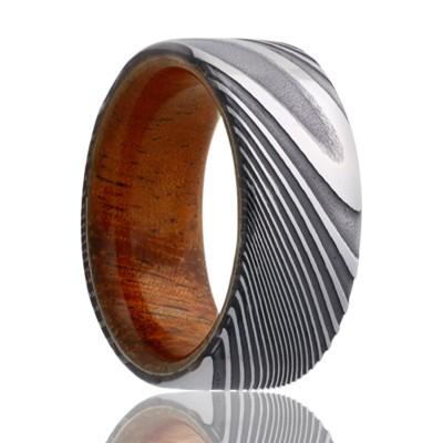 8mm Damascus Pipe Cut Band w/Koa Wood Sleeve