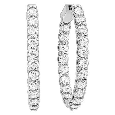 Diamond Inside Out Oval Hoop Earrings in 14k White Gold (2ctw)