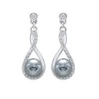 SS Pearl and CZ Drop Earrings