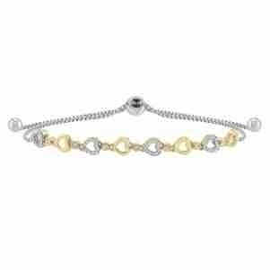 Diamond Encrusted Heart Pattern Bolo Bracelet in Sterling Silver- Adjustable (1/8ctw)