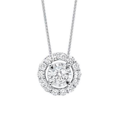 Diamond Halo Solitaire Starburst Pendant Necklace in 14k White Gold (1/7ctw)