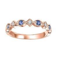 10Kr Diamond & Blue Sapphire Stackable Band