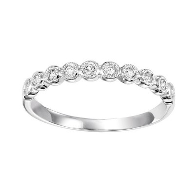 Diamond Bubble Bezel Milgrain Stackable Band in 10k White Gold