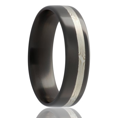 6mm Flat Zirconium With Offset Mokume Gane White Gold and Sterling Silver Inlay