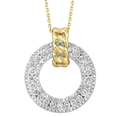14Ktt .75Cttw Diamond Circle Fashion Pendant