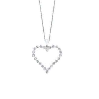 Diamond Open Heart Pendant Necklace in 14k White Gold (1 ctw)
