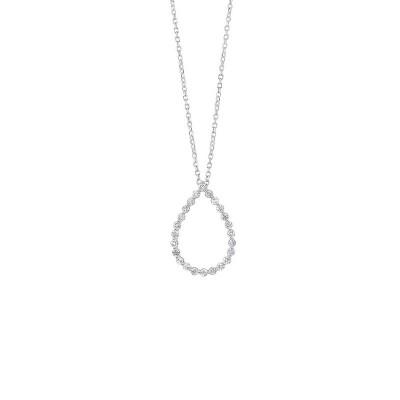 Diamond Eternity Floating Teardrop Pendant Necklace in 14k White Gold (1/4ctw)