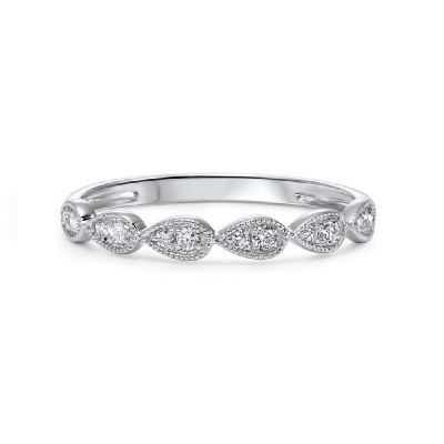 Diamond Teardrop Vintage Style Milgrain Stackable Band in 14k White Gold (⅛ ctw)