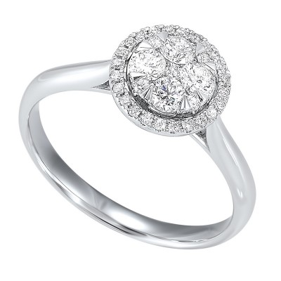 Diamond Halo Round Cluster Ring in 14k White Gold (1/3 ctw)