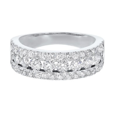 Triple Row Diamond Stackable Band in 14k White Gold (1 1/2ctw)
