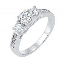 14kw 1.00cttw 9 Stone Diamond Engagement Ring