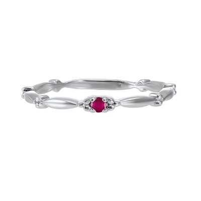 Ruby Solitaire Antique Style Slender Stackable Band in 10k White Gold