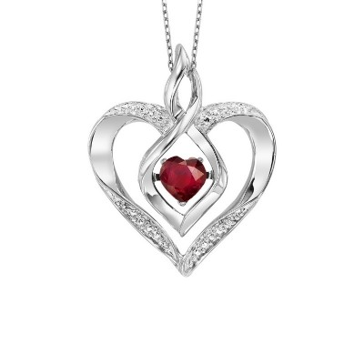Diamond & Synthetic Garnet Heart Infinity Symbol ROL Rhythm of Love Pendant in Sterling Silver