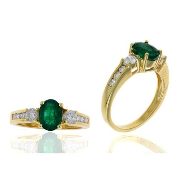 Oval Emerald and Diamond 9 Stone Ring