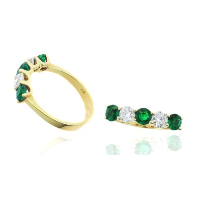 5 Stone Emerald and Diamond Shared Prong Band
