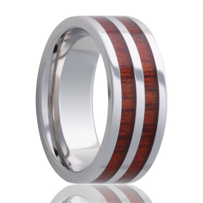 8mm Pipe Cut Tungsten band, all high polish with blood wood inlays Size 10