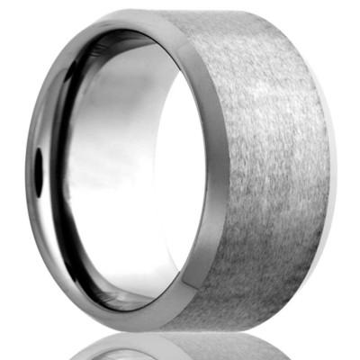 6mm Tungsten Beveled Edge Satin Center Size 10