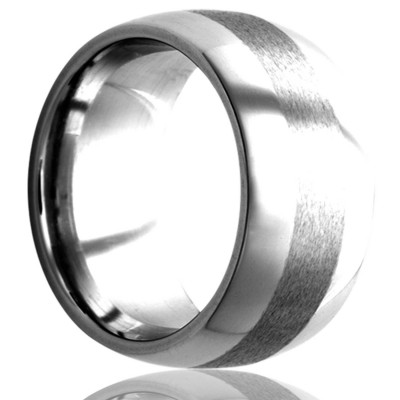 8mm Dome Tungsten band, high polish finish with a satin stripe in the center size 12