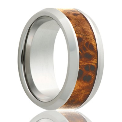 8mm Beveled edge Tungsten band, all high polish with a 4mm burl wood inlay. Size 11