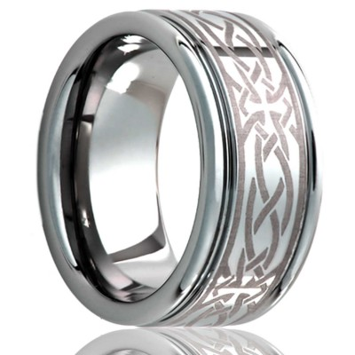 8mm Deep groove Tungsten band, all high polish with laser pattern.