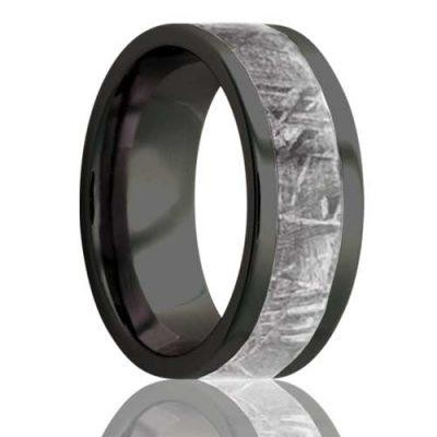 8Mm Flat Zirconium Band, All High Polish With A 4Mm Meteorite Inlay