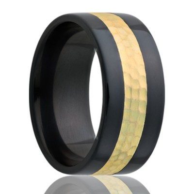8mm Flat Zirconium band, all high polish with 3mm 14k yellow gold hammered inlay