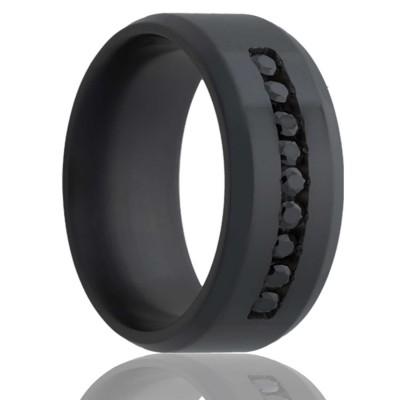 8Mm Beveled Edge Zirconium Band, Polished With Approximately .30 Ctw. Black Diamond Channel