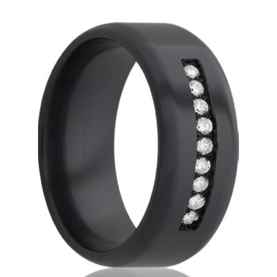 8Mm Beveled edge Zirconium band, polished with approximately .30 ctw. Size 10