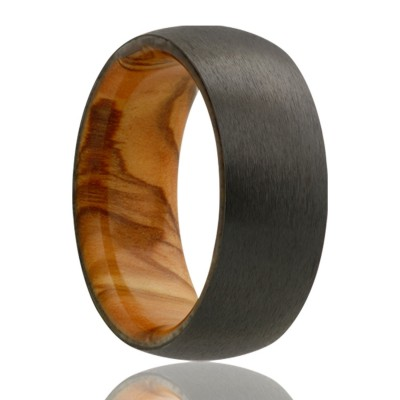 8mm Dome zirconium band, satin finish with olive wood Size 10