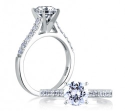 A. Jaffe 18kt White Gold Prong Set Engagement Ring