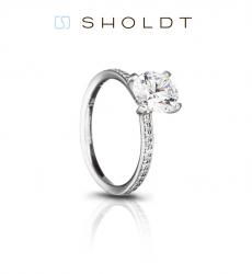 Sholdt 18K White Gold Fremont Four Prong Engagement Ring Mounting.