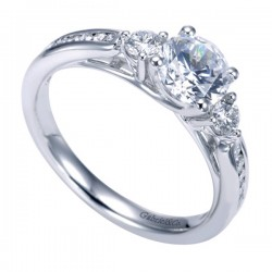 Gabriel & Co White Gold Contemporary Three Stone Engagement Ring