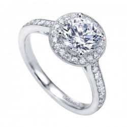 Gabriel & Co White Gold Victorian Halo Engagement Ring style