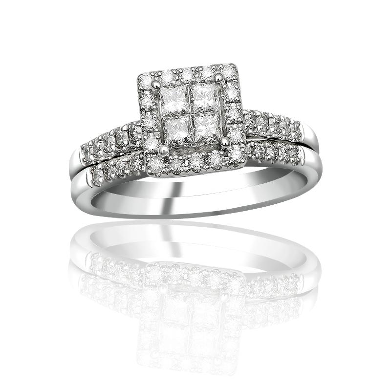 14K White Gold 5/8 CTTW Quad Princess Cut Diamond Halo Wedding Set ...