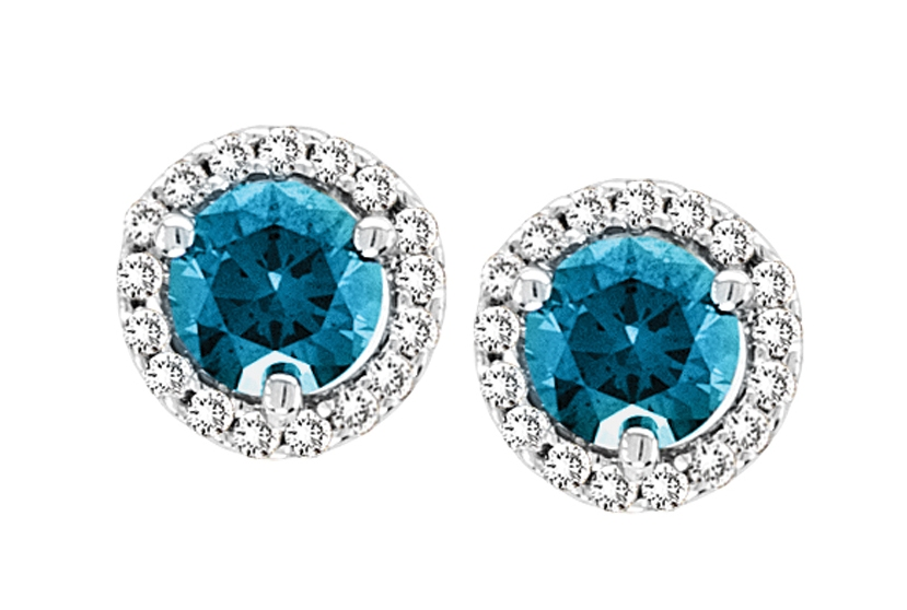 Fancy Colored Blue Diamond Earrings