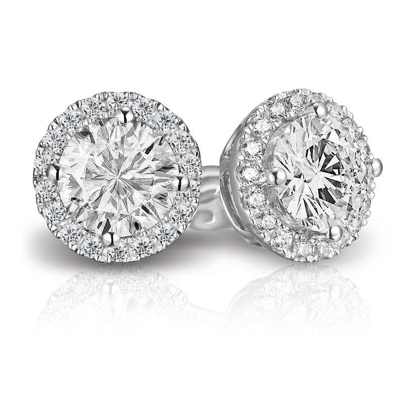 Halo Preferred 105 Round Diamond 70 Ct Tw Earrings Studs In 14k White Gold Amdpha Plg Pe05 40 P4q
