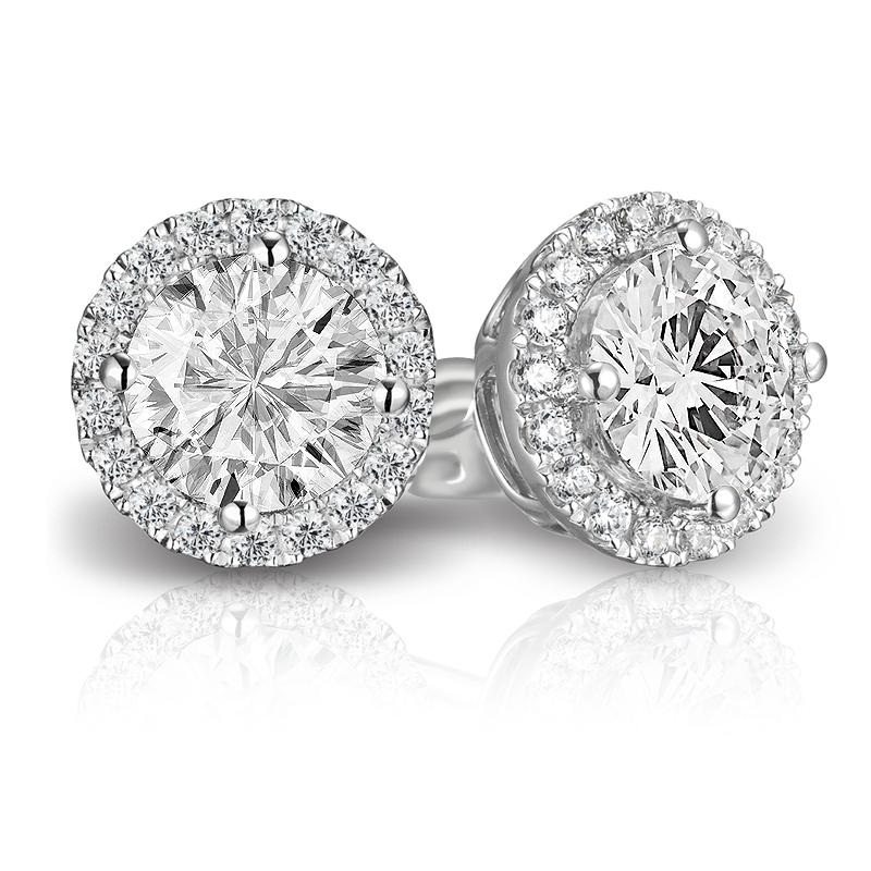 Halo Preferred 105 Round Diamond 70 Ct Tw Earrings Studs In 14k White Gold Amdpha Plg Pe05 40 P4q