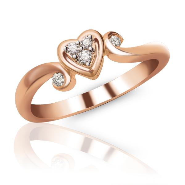 10K Rose Gold Heart Shape Diamond Promise Ring AMDTRU