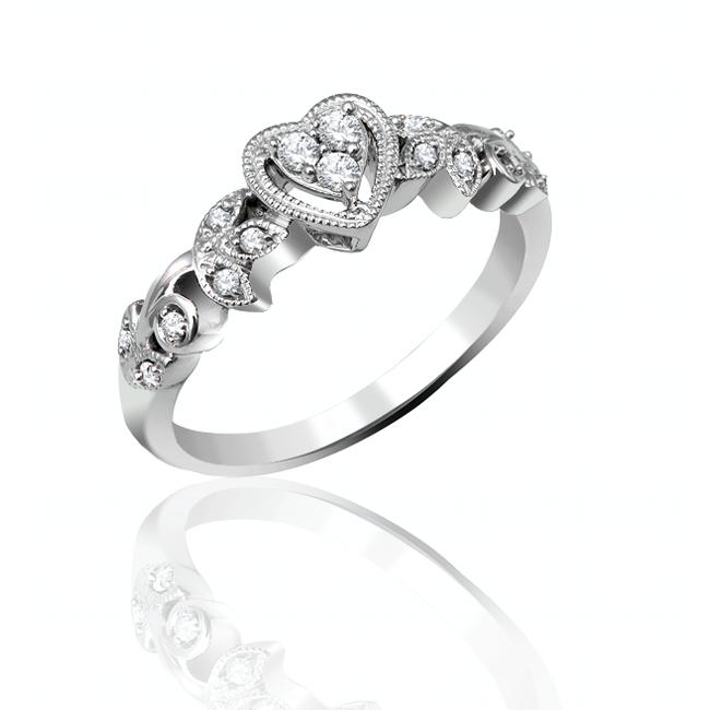 10k white gold vintage style promise ring