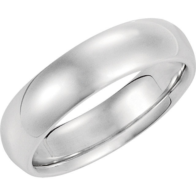 14K White Gold Comfort Fit Plain Wedding Band 6mm