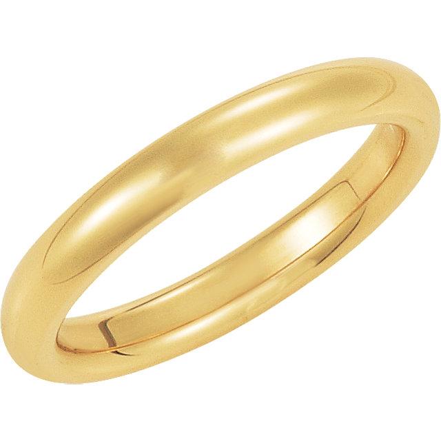 14K Yellow Gold Comfort Fit Plain Wedding Band 3mm