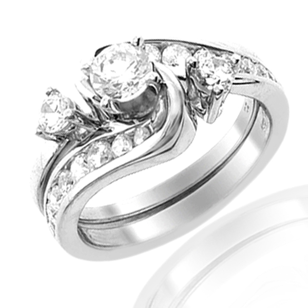 14k White Gold 1ctw Round Diamond Bypass Wedding Set AMDTAC