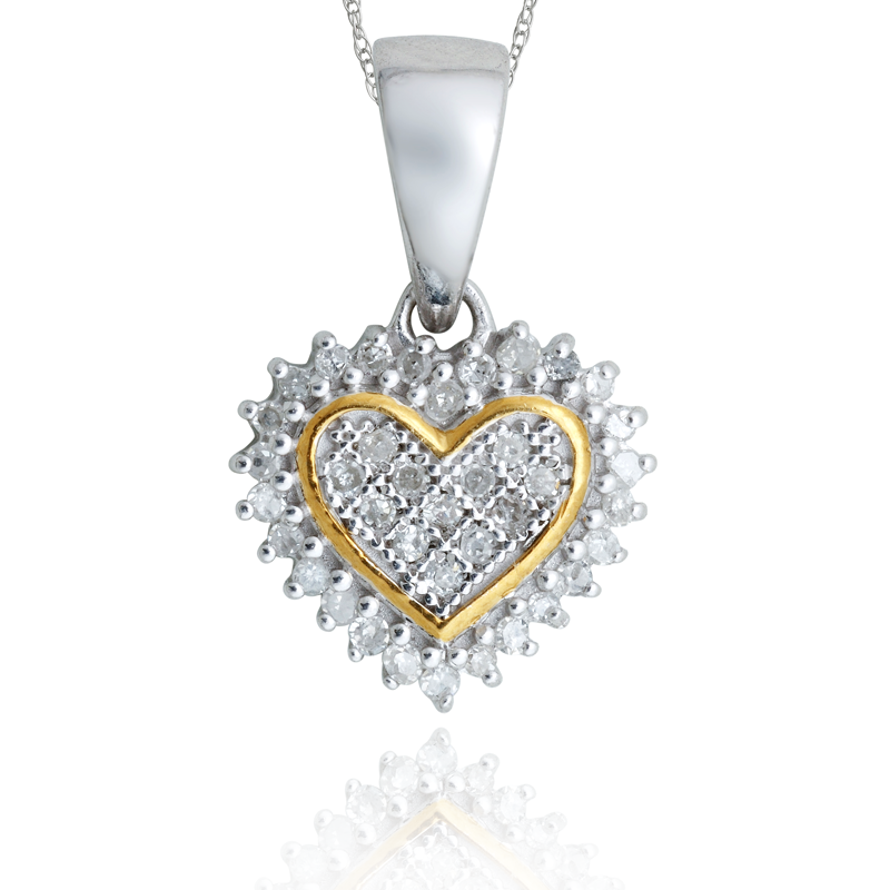 Sterling silver heart shaped diamond pendant 11 ctw p 5078 s aqh mozeypictures Choice Image