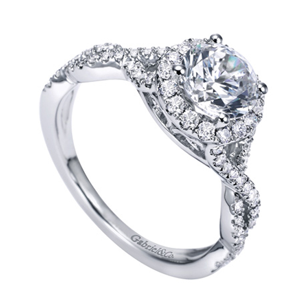 gabriel co white gold contemporary halo engagement ring